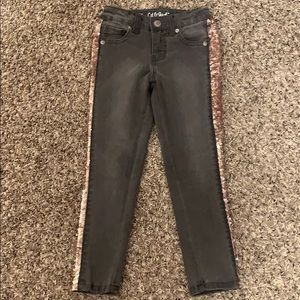 Stretch jeans with flip sequins